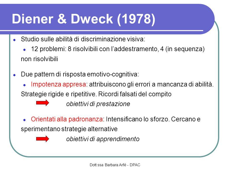 Diener & Dweck (1978) Studio sulle abilità di discriminazione visiva: 12 problemi: 8 risolvibili con laddestramento, 4 (in sequenza) non risolvibili Due pattern di risposta emotivo-cognitiva: Impotenza appresa: attribuiscono gli errori a mancanza di abilità.