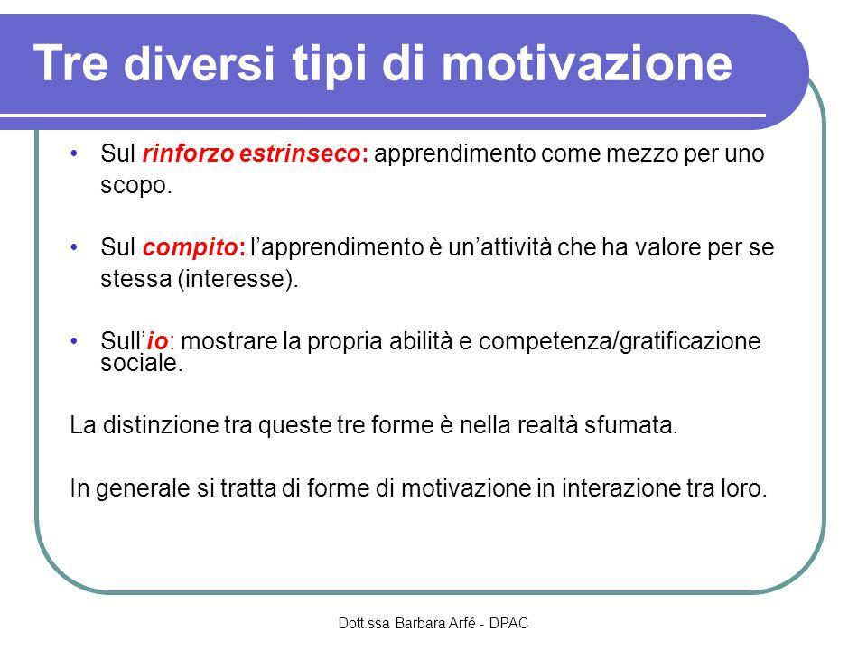 Tre diversi tipi di motivazione Sul rinforzo estrinseco: apprendimento come mezzo per uno scopo.