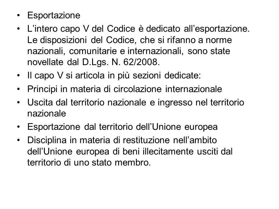 Esportazione Lintero capo V del Codice è dedicato allesportazione.