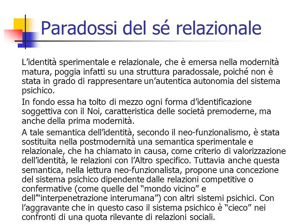 Paradossi del sé relazionale Lidentità sperimentale e relazionale, che è emersa nella modernità matura, poggia infatti su una struttura paradossale, p