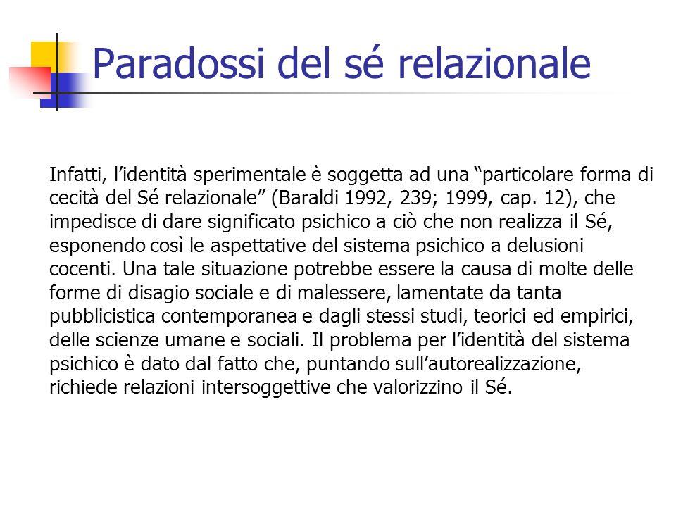 Infatti, lidentità sperimentale è soggetta ad una particolare forma di cecità del Sé relazionale (Baraldi 1992, 239; 1999, cap. 12), che impedisce di