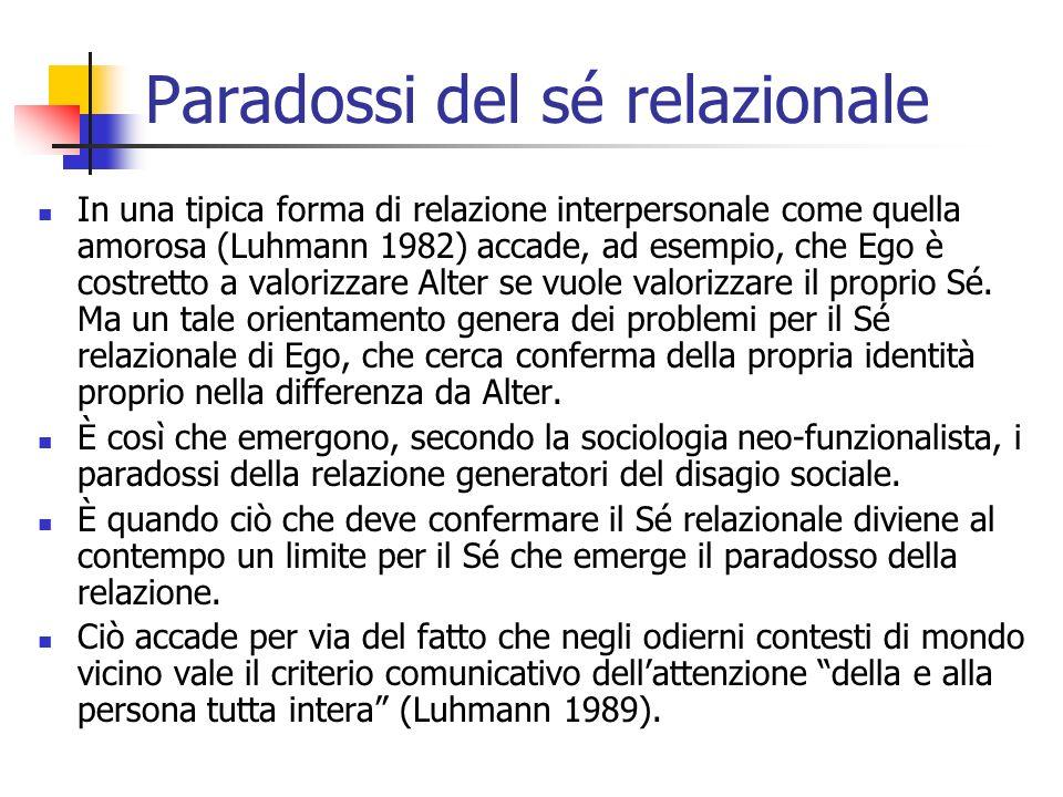 In una tipica forma di relazione interpersonale come quella amorosa (Luhmann 1982) accade, ad esempio, che Ego è costretto a valorizzare Alter se vuol