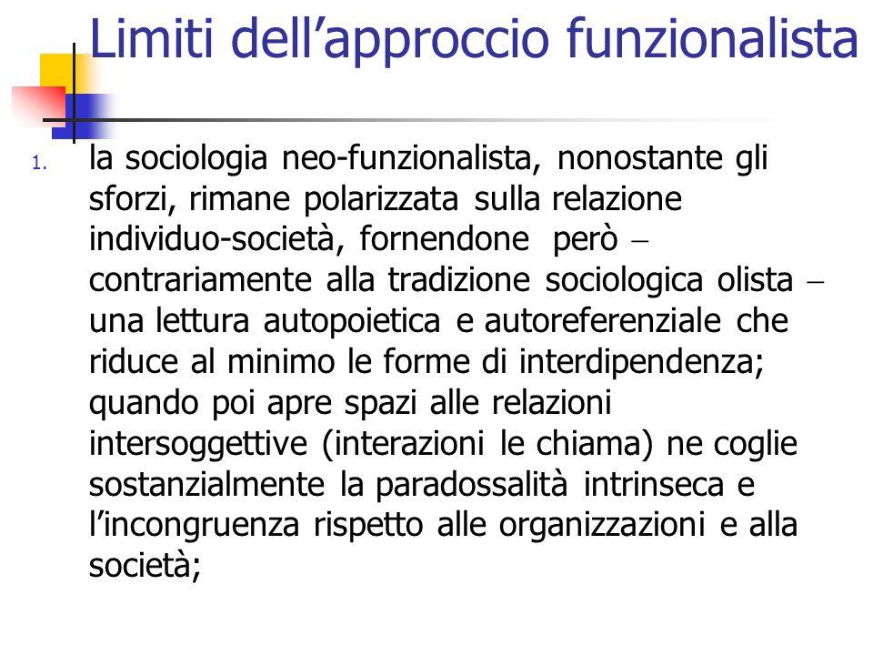 Limiti dellapproccio funzionalista 1. la sociologia neo-funzionalista, nonostante gli sforzi, rimane polarizzata sulla relazione individuo-società, fo
