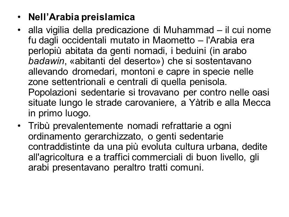 NellArabia preislamica alla vigilia della predicazione di Muhammad – il cui nome fu dagli occidentali mutato in Maometto – l'Arabia era perlopiù abita