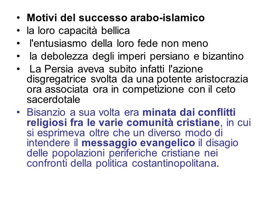 Motivi del successo arabo-islamico la loro capacità bellica l'entusiasmo della loro fede non meno la debolezza degli imperi persiano e bizantino La Pe