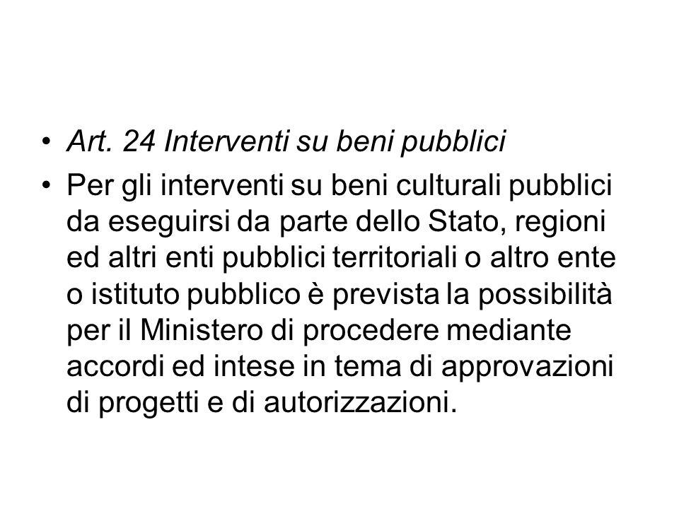 Art. 24 Interventi su beni pubblici Per gli interventi su beni culturali pubblici da eseguirsi da parte dello Stato, regioni ed altri enti pubblici te