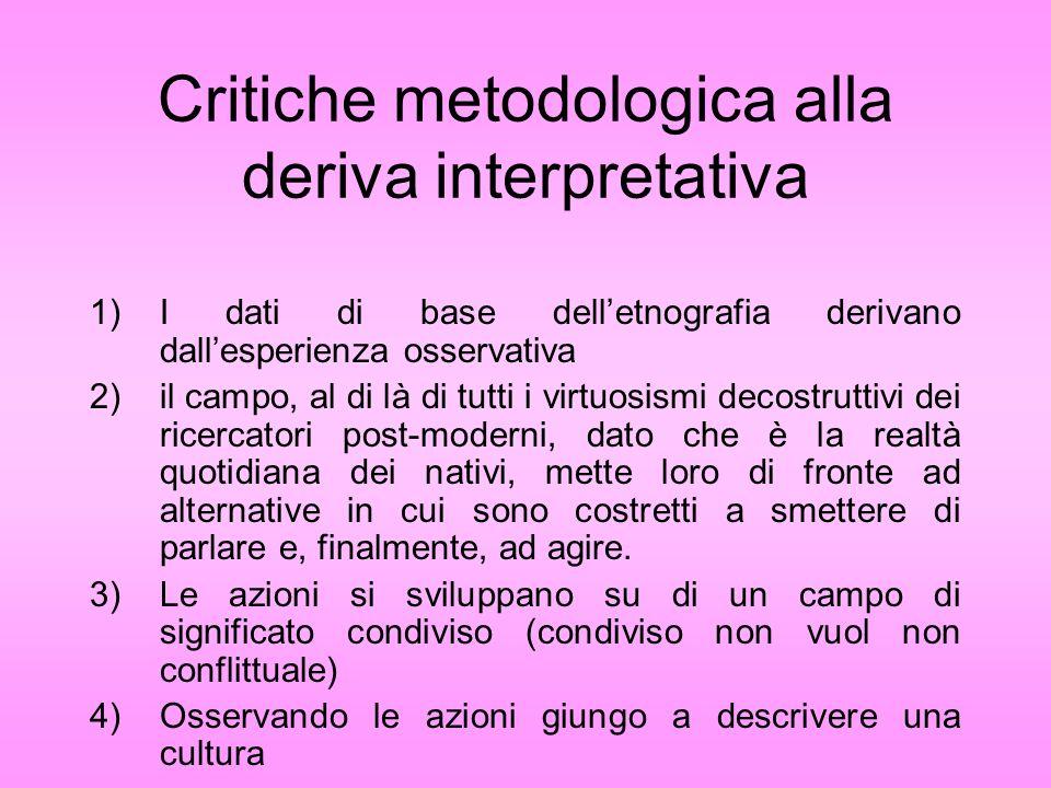 Critiche metodologica alla deriva interpretativa 1)I dati di base delletnografia derivano dallesperienza osservativa 2)il campo, al di là di tutti i v