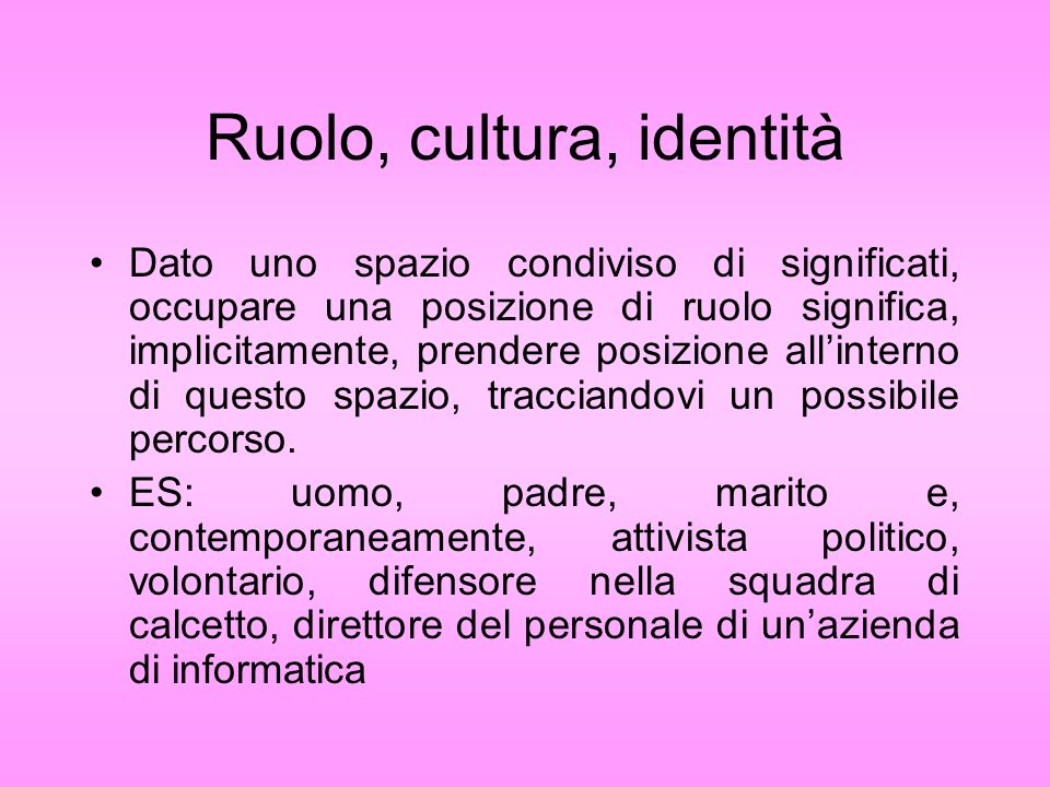 Ruolo, cultura, identità Dato uno spazio condiviso di significati, occupare una posizione di ruolo significa, implicitamente, prendere posizione allin