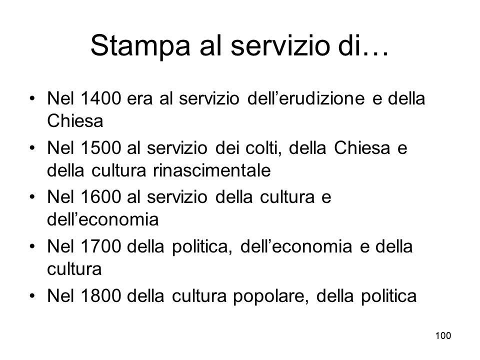 100 Stampa al servizio di… Nel 1400 era al servizio dellerudizione e della Chiesa Nel 1500 al servizio dei colti, della Chiesa e della cultura rinasci
