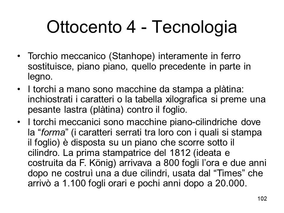 102 Ottocento 4 - Tecnologia Torchio meccanico (Stanhope) interamente in ferro sostituisce, piano piano, quello precedente in parte in legno. I torchi