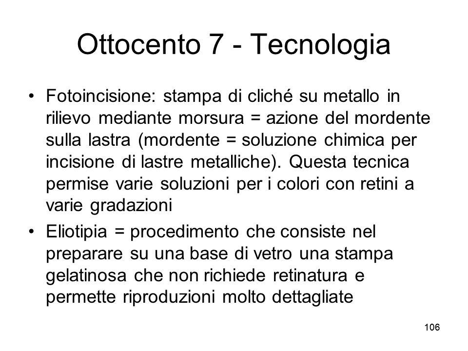106 Ottocento 7 - Tecnologia Fotoincisione: stampa di cliché su metallo in rilievo mediante morsura = azione del mordente sulla lastra (mordente = sol
