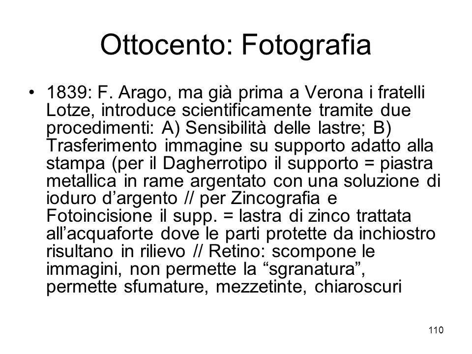 110 Ottocento: Fotografia 1839: F. Arago, ma già prima a Verona i fratelli Lotze, introduce scientificamente tramite due procedimenti: A) Sensibilità