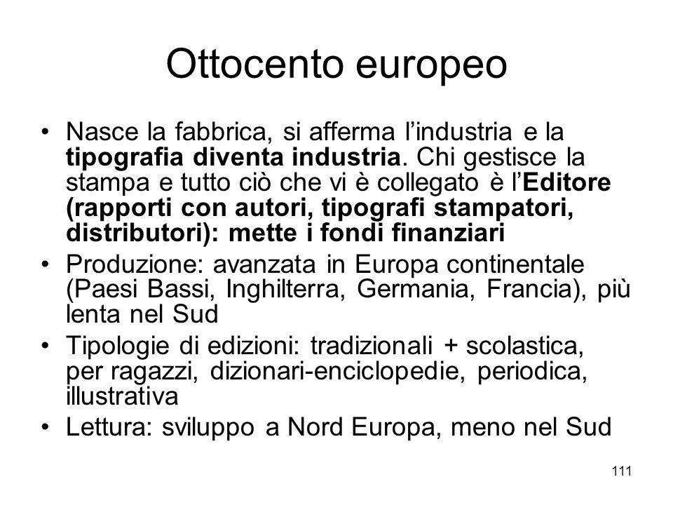 111 Ottocento europeo Nasce la fabbrica, si afferma lindustria e la tipografia diventa industria. Chi gestisce la stampa e tutto ciò che vi è collegat