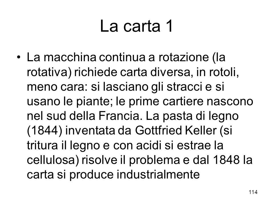 114 La carta 1 La macchina continua a rotazione (la rotativa) richiede carta diversa, in rotoli, meno cara: si lasciano gli stracci e si usano le pian
