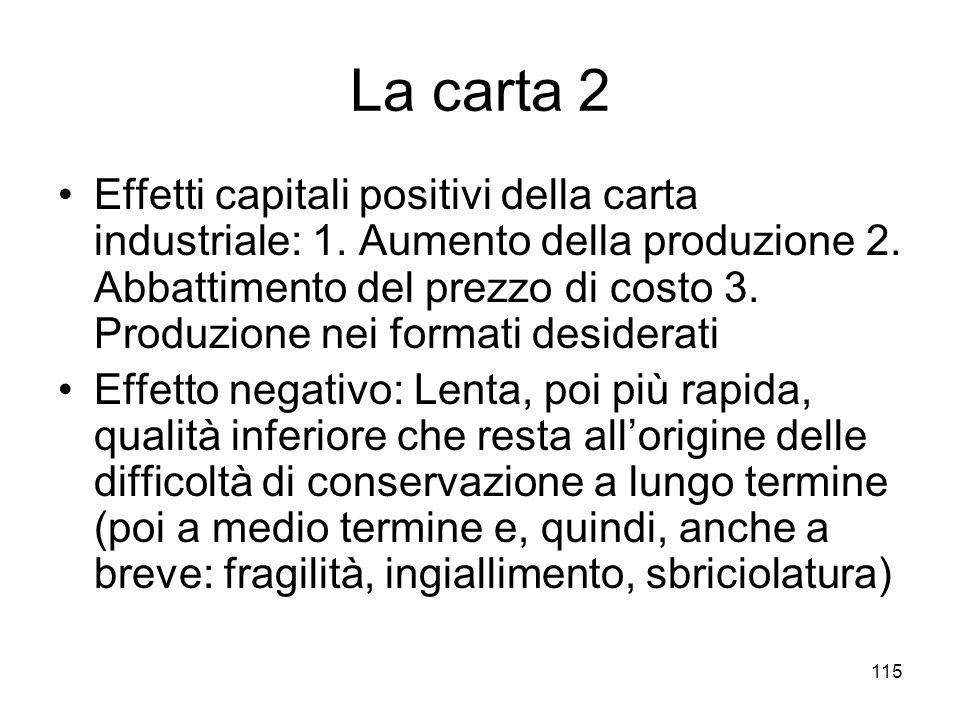 115 La carta 2 Effetti capitali positivi della carta industriale: 1. Aumento della produzione 2. Abbattimento del prezzo di costo 3. Produzione nei fo