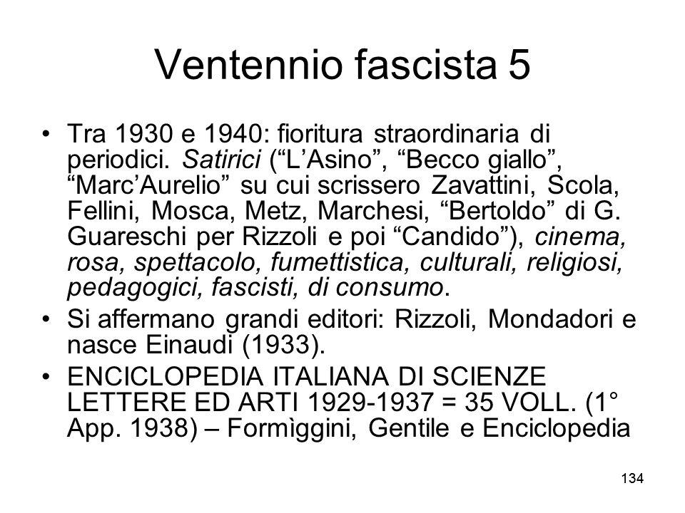 134 Ventennio fascista 5 Tra 1930 e 1940: fioritura straordinaria di periodici. Satirici (LAsino, Becco giallo, MarcAurelio su cui scrissero Zavattini