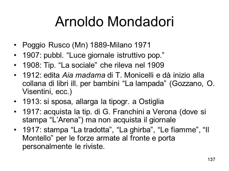 137 Arnoldo Mondadori Poggio Rusco (Mn) 1889-Milano 1971 1907: pubbl. Luce giornale istruttivo pop. 1908: Tip. La sociale che rileva nel 1909 1912: ed