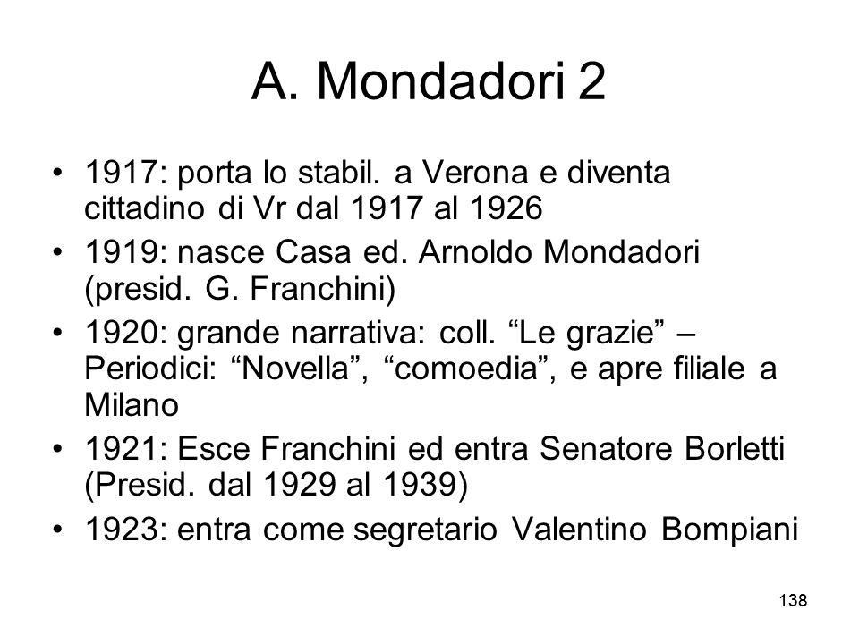 138 A. Mondadori 2 1917: porta lo stabil. a Verona e diventa cittadino di Vr dal 1917 al 1926 1919: nasce Casa ed. Arnoldo Mondadori (presid. G. Franc