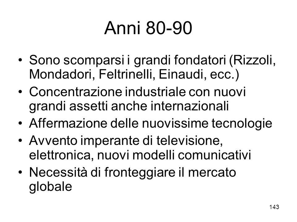 143 Anni 80-90 Sono scomparsi i grandi fondatori (Rizzoli, Mondadori, Feltrinelli, Einaudi, ecc.) Concentrazione industriale con nuovi grandi assetti
