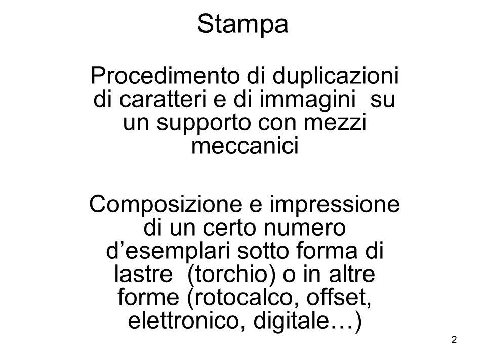 33 Stampa Stampa tipografica = Riproduzione da serie originali di caratteri composti a formare parole, righe, pagine, tramite mezzi meccanici Stampa digitale = …..