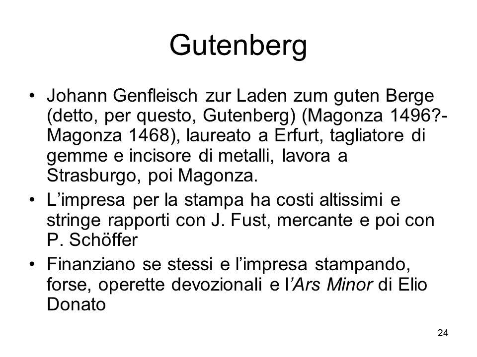 24 Gutenberg Johann Genfleisch zur Laden zum guten Berge (detto, per questo, Gutenberg) (Magonza 1496?- Magonza 1468), laureato a Erfurt, tagliatore d