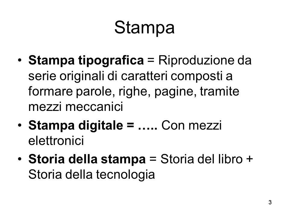 33 Stampa Stampa tipografica = Riproduzione da serie originali di caratteri composti a formare parole, righe, pagine, tramite mezzi meccanici Stampa d