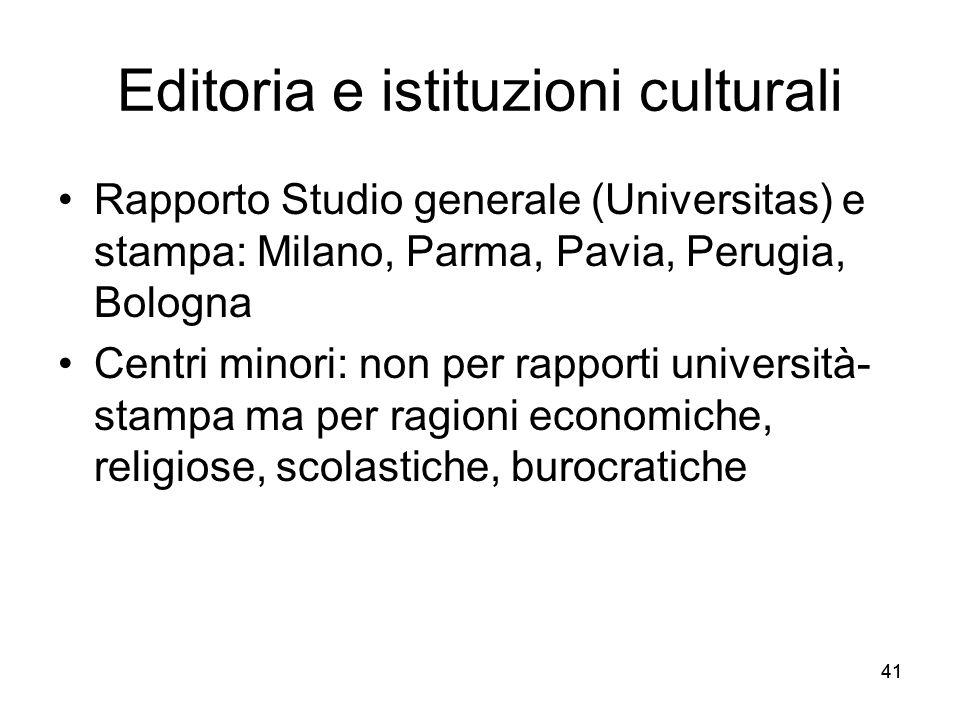 41 Editoria e istituzioni culturali Rapporto Studio generale (Universitas) e stampa: Milano, Parma, Pavia, Perugia, Bologna Centri minori: non per rap