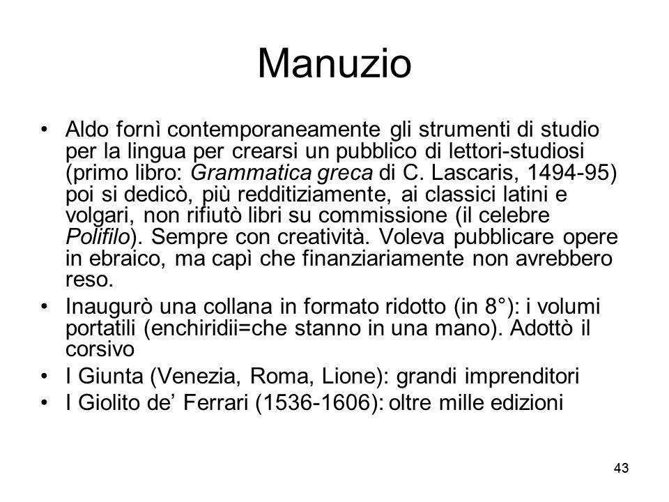43 Manuzio Aldo fornì contemporaneamente gli strumenti di studio per la lingua per crearsi un pubblico di lettori-studiosi (primo libro: Grammatica gr