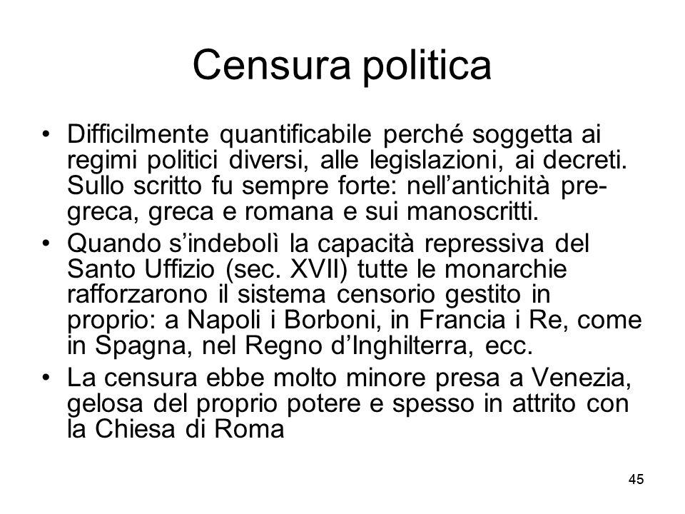 45 Censura politica Difficilmente quantificabile perché soggetta ai regimi politici diversi, alle legislazioni, ai decreti. Sullo scritto fu sempre fo