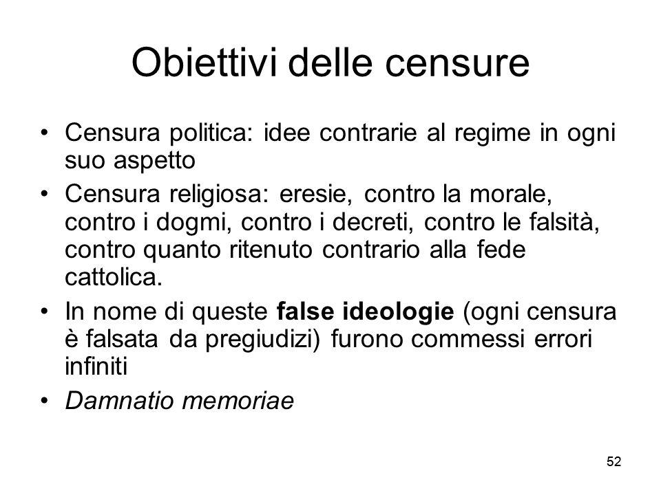 52 Obiettivi delle censure Censura politica: idee contrarie al regime in ogni suo aspetto Censura religiosa: eresie, contro la morale, contro i dogmi,
