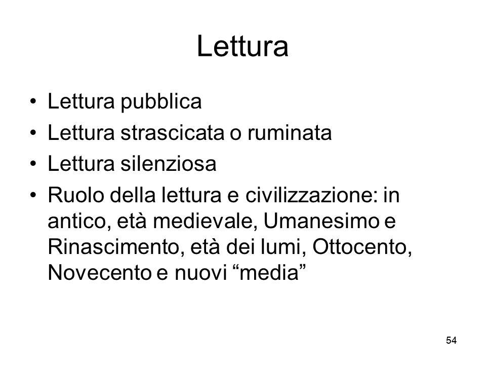 54 Lettura Lettura pubblica Lettura strascicata o ruminata Lettura silenziosa Ruolo della lettura e civilizzazione: in antico, età medievale, Umanesim