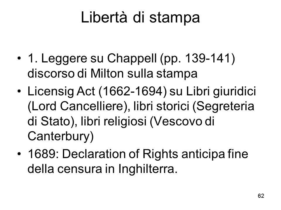 62 Libertà di stampa 1. Leggere su Chappell (pp. 139-141) discorso di Milton sulla stampa Licensig Act (1662-1694) su Libri giuridici (Lord Cancellier