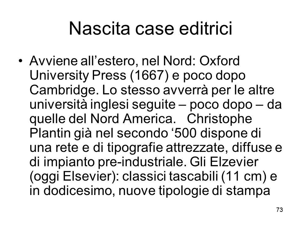 73 Nascita case editrici Avviene allestero, nel Nord: Oxford University Press (1667) e poco dopo Cambridge. Lo stesso avverrà per le altre università