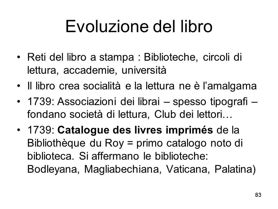 83 Evoluzione del libro Reti del libro a stampa : Biblioteche, circoli di lettura, accademie, università Il libro crea socialità e la lettura ne è lam
