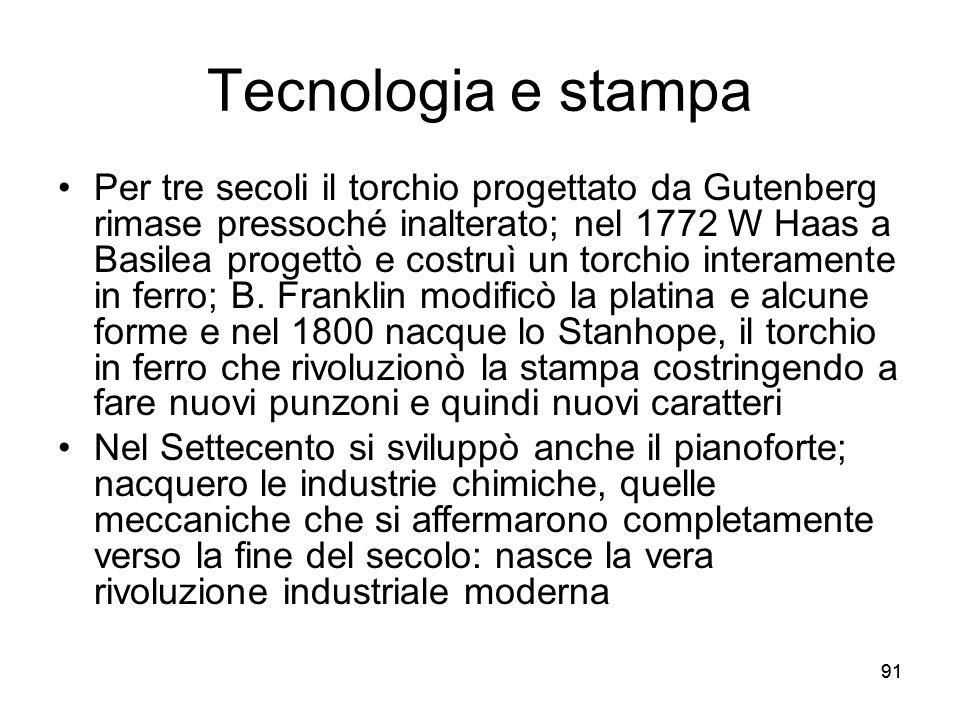 91 Tecnologia e stampa Per tre secoli il torchio progettato da Gutenberg rimase pressoché inalterato; nel 1772 W Haas a Basilea progettò e costruì un