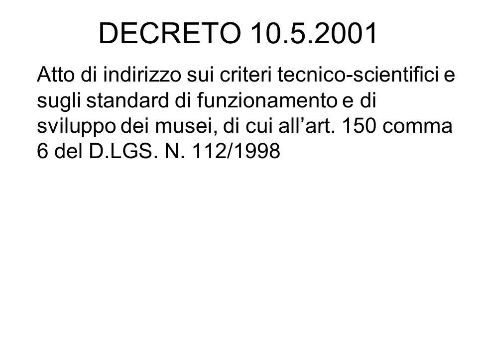 DECRETO 10.5.2001 Atto di indirizzo sui criteri tecnico-scientifici e sugli standard di funzionamento e di sviluppo dei musei, di cui allart. 150 comm