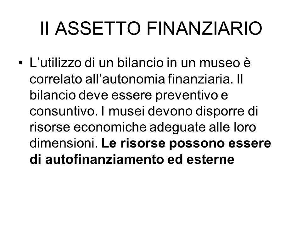 II ASSETTO FINANZIARIO Lutilizzo di un bilancio in un museo è correlato allautonomia finanziaria. Il bilancio deve essere preventivo e consuntivo. I m