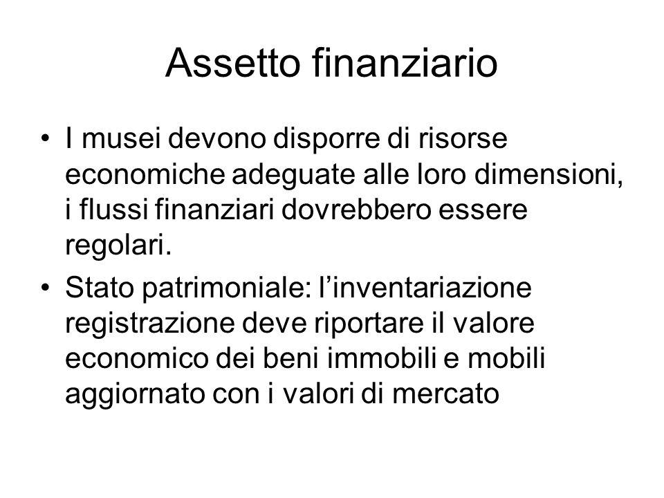 Assetto finanziario I musei devono disporre di risorse economiche adeguate alle loro dimensioni, i flussi finanziari dovrebbero essere regolari. Stato
