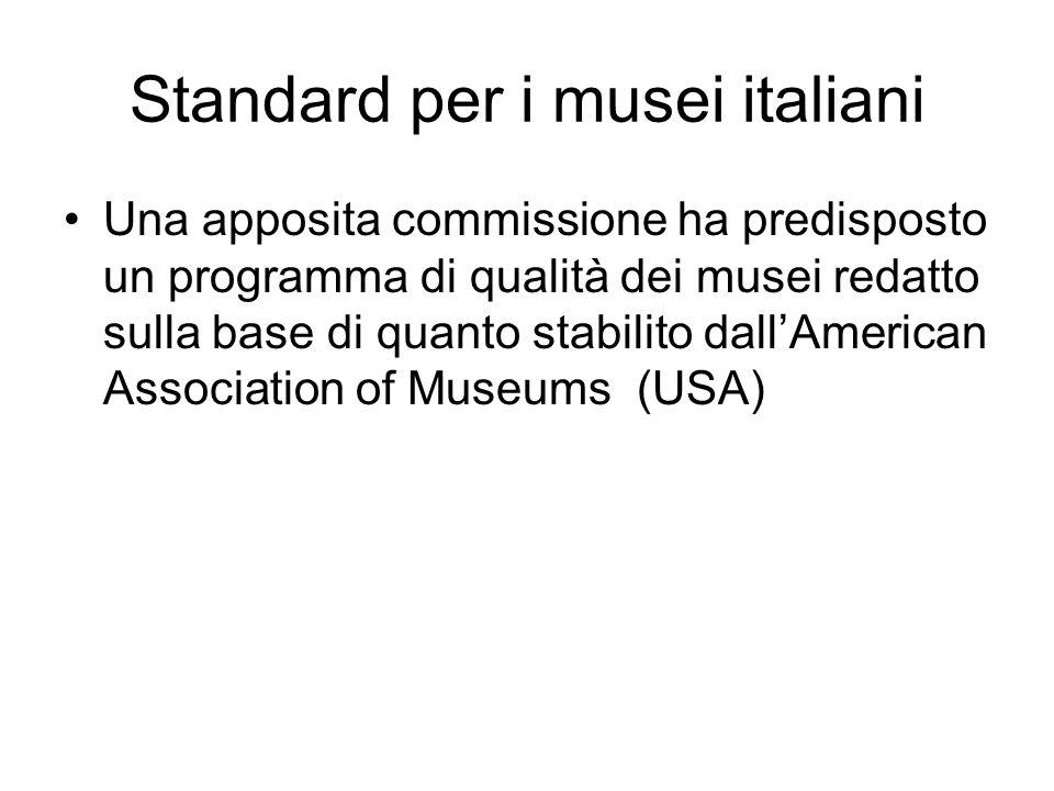 La materia dei musei è stata suddivisa in 8 ambiti I) Status giuridico, II) Assetto finanziario, III) Struttura, IV) Personale, V) Sicurezza, VI) Gestione delle collezioni, VII) Rapporti con il pubblico e relativi servizi, VIII) Rapporti con il territorio