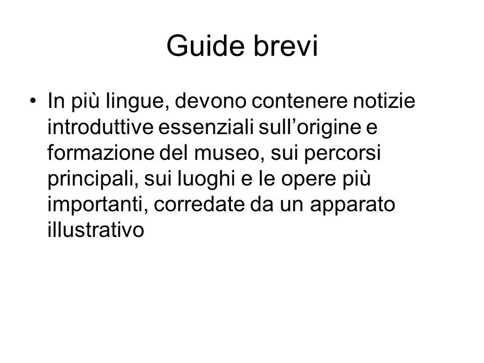 Guide brevi In più lingue, devono contenere notizie introduttive essenziali sullorigine e formazione del museo, sui percorsi principali, sui luoghi e