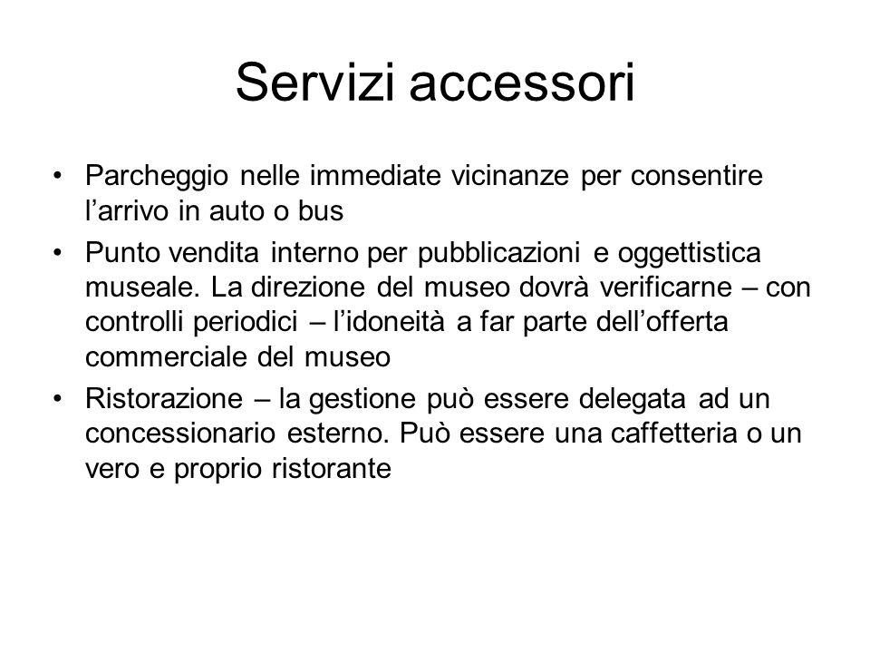 Servizi accessori Parcheggio nelle immediate vicinanze per consentire larrivo in auto o bus Punto vendita interno per pubblicazioni e oggettistica mus