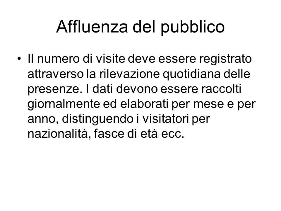 Affluenza del pubblico Il numero di visite deve essere registrato attraverso la rilevazione quotidiana delle presenze. I dati devono essere raccolti g