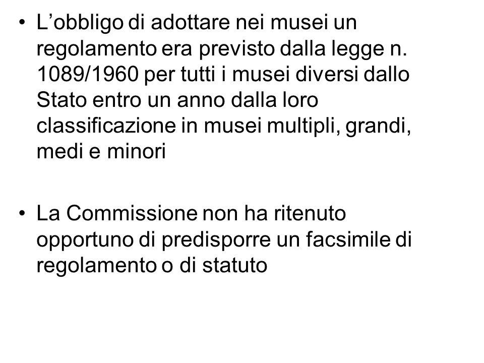 Lobbligo di adottare nei musei un regolamento era previsto dalla legge n. 1089/1960 per tutti i musei diversi dallo Stato entro un anno dalla loro cla