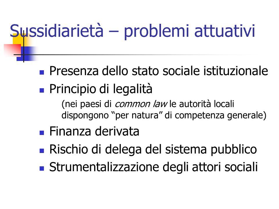 Sussidiarietà – problemi attuativi Presenza dello stato sociale istituzionale Principio di legalità (nei paesi di common law le autorità locali dispon