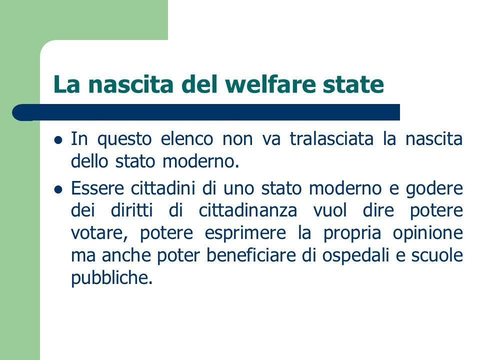 La nascita del welfare state In questo elenco non va tralasciata la nascita dello stato moderno. Essere cittadini di uno stato moderno e godere dei di