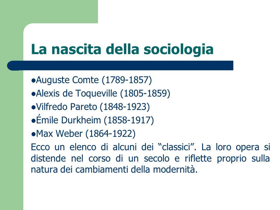 La nascita della sociologia Auguste Comte (1789-1857) Alexis de Toqueville (1805-1859) Vilfredo Pareto (1848-1923) Émile Durkheim (1858-1917) Max Webe