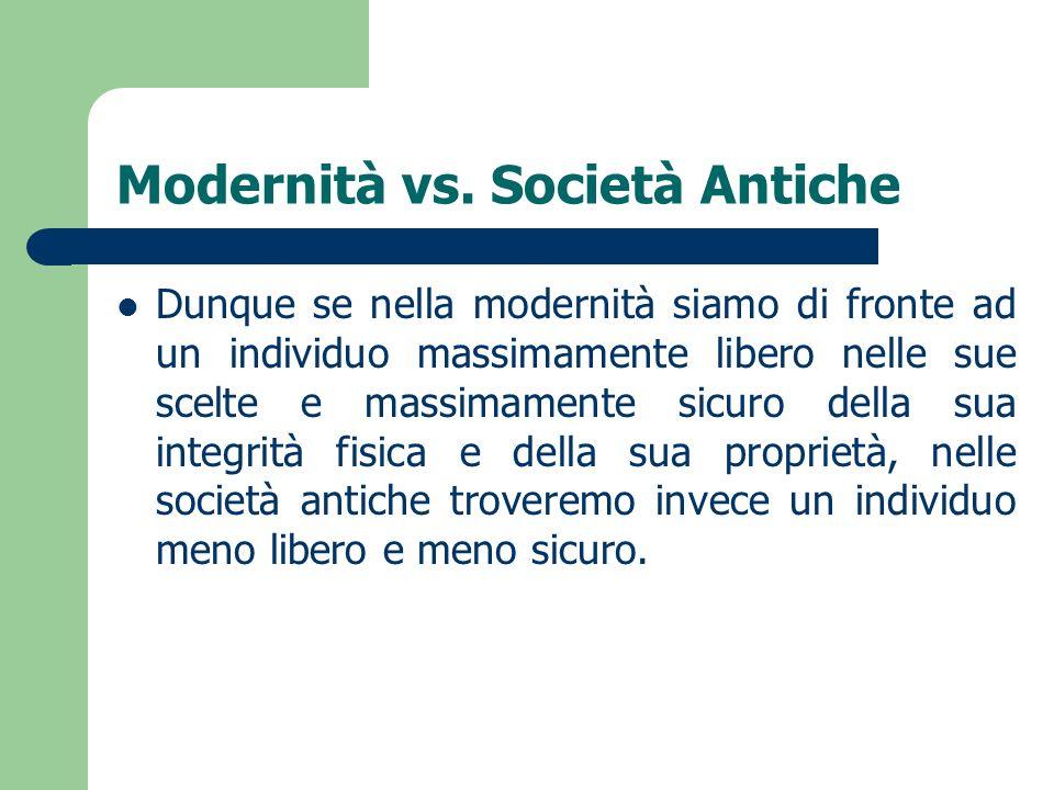Modernità vs. Società Antiche Dunque se nella modernità siamo di fronte ad un individuo massimamente libero nelle sue scelte e massimamente sicuro del