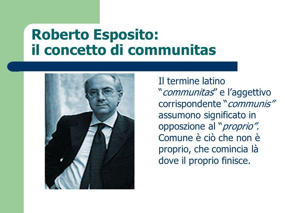 Roberto Esposito: il concetto di communitas Il termine latinocommunitas e laggettivo corrispondente communis assumono significato in opposzione al pro