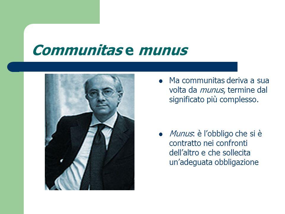Communitas e munus Ma communitas deriva a sua volta da munus, termine dal significato più complesso. Munus: è lobbligo che si è contratto nei confront