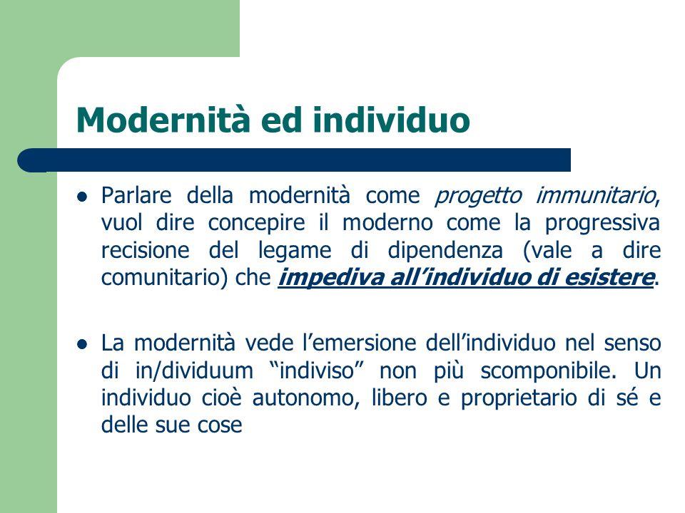 Modernità ed individuo Parlare della modernità come progetto immunitario, vuol dire concepire il moderno come la progressiva recisione del legame di d